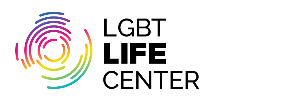 LGBT Life Center full color logo with black type